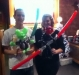 Customers with Yoda and Darth Maul.